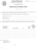 Registration Of Fictitious Name Form - Missouri Secretary Of State