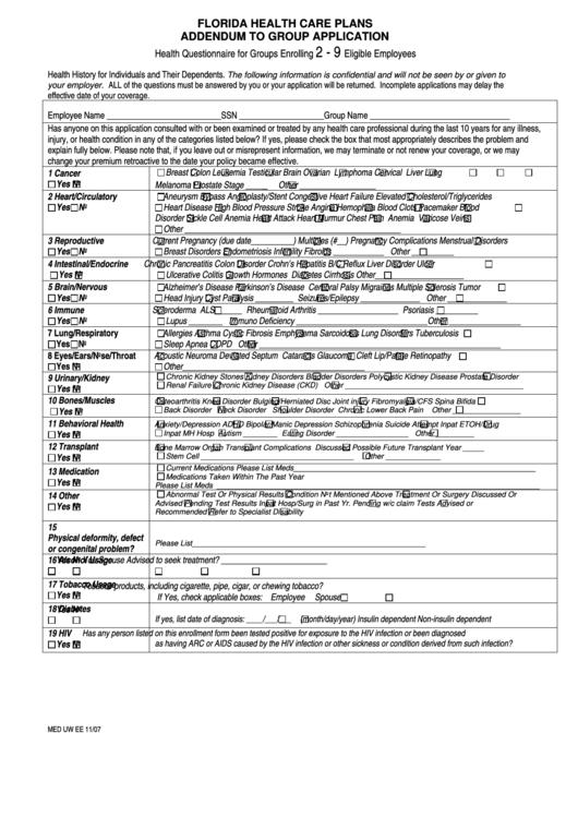 Florida Health Care Plans Addendum To Group Application ...