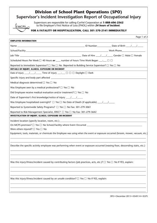 fillable spo supervisor u0026 39 s incident investigation report of