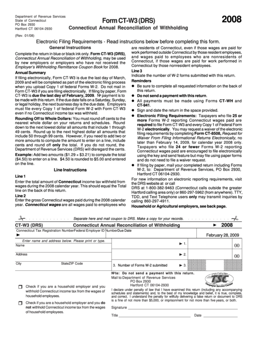 Form Ct-W3 (Drs) - Connecticut Annual Reconciliation Of ...