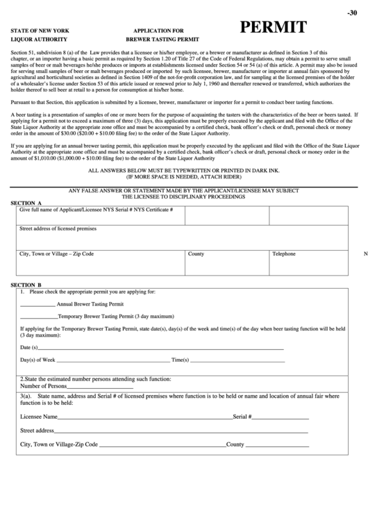 Application For Brewer Tasting Permit - New York Liquor Authority