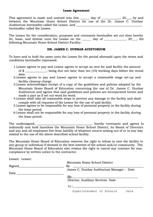 Fillable Lease Agreement Template Sample Printable Pdf Download