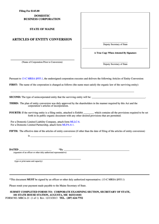 Form Mbca-21 - Domestic Business Corporation Articles Of Entity Conversion