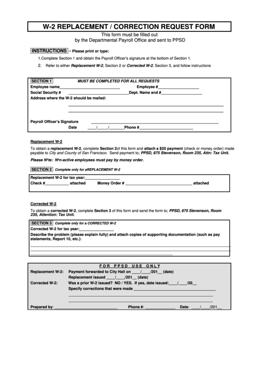 Fillable W-2 Replacement/correction Request Form printable ...