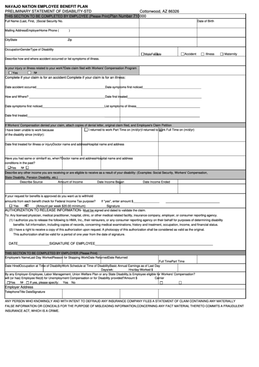 Preliminary Statement Of Disability-std Form