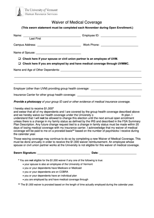 Waiver Of Medical Coverage Form printable pdf download