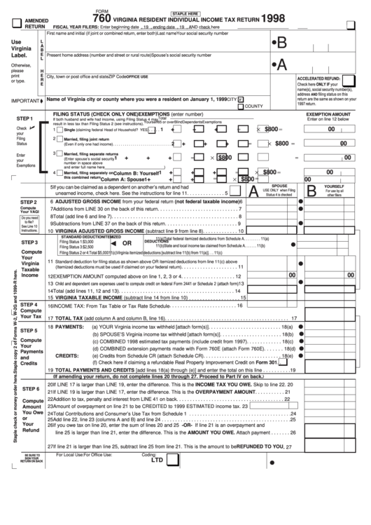 Virginia State Tax >> Fillable Form 760 - Virginia Resident Individual Income ...