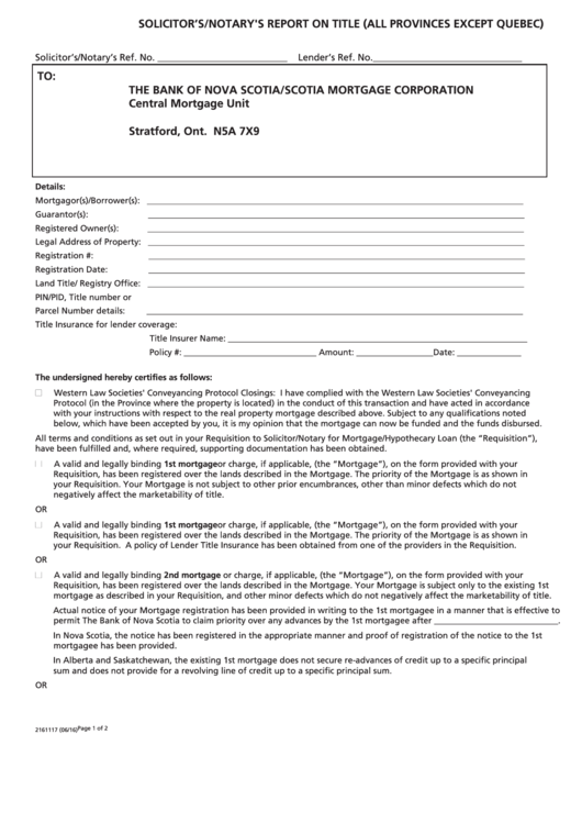 Solicitor's/notary's Report On Title-form