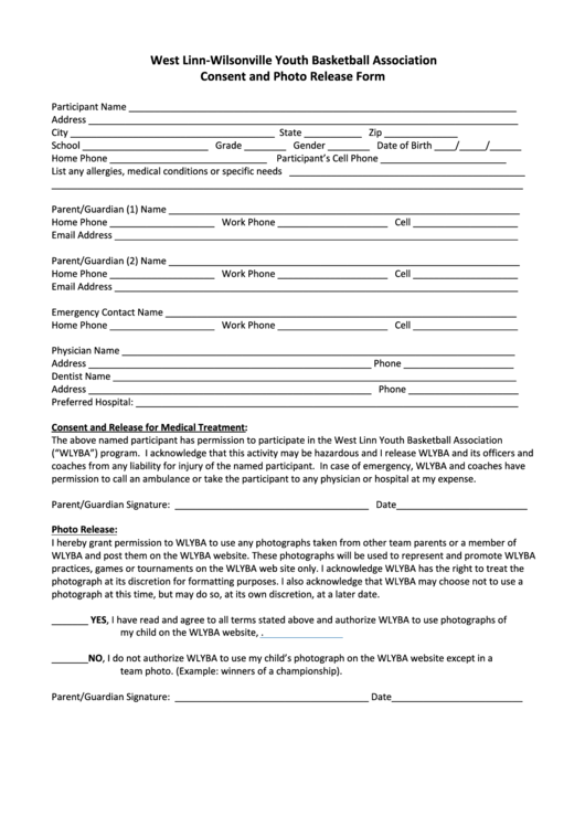 Youth Basketball Association Consent And Photo Release Form