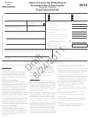 Form Mw506nrs (draft) - Return Of Income Tax Withholding For Nonresident Sale Of Real Property - 2012