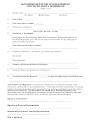 Authorization Form For Use/disclosure Of Protected Health Information