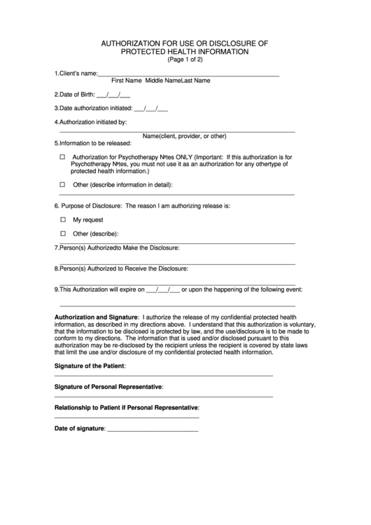 Fillable Authorization Form For Use/disclosure Of Protected Health Information Printable pdf