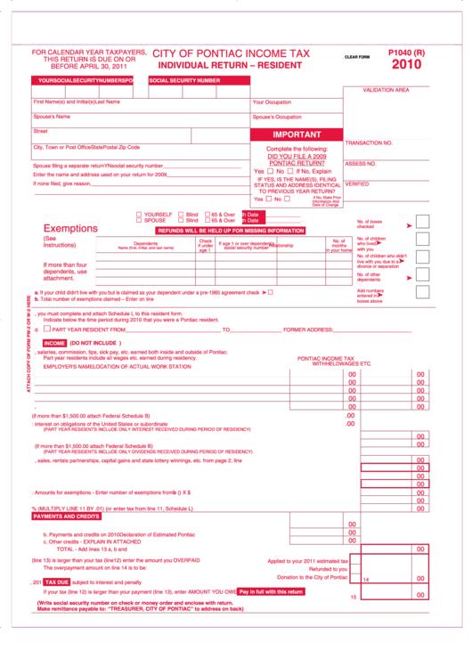 Form P1040(r) - Individual Return - Resident - 2010