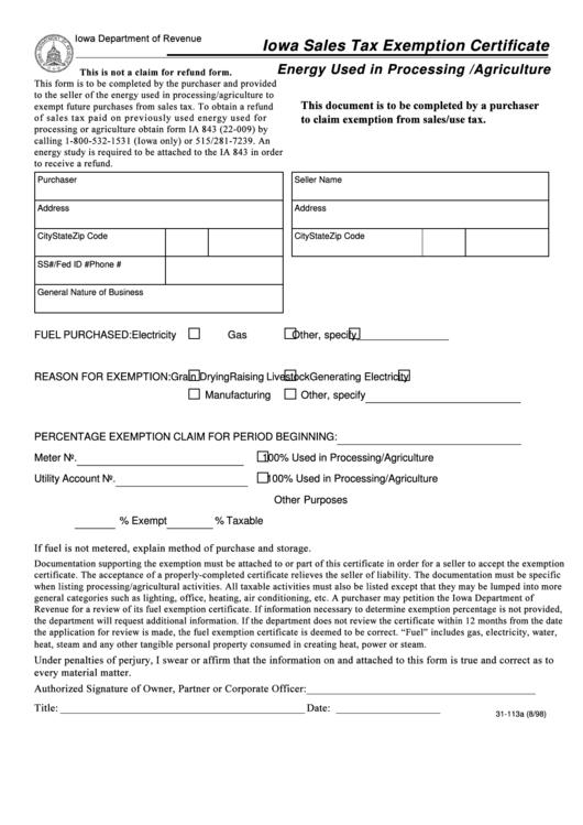 Iowa Sales Tax Exemption Certificate Form - Iowa Department Of ...