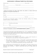 Authorization To Release Health Care Information Template