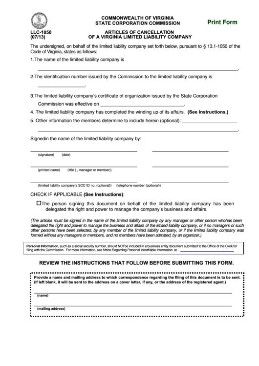 fillable form llc 1050 articles of cancellation of a va llc printable pdf