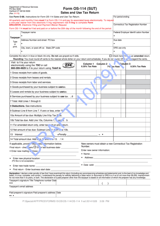 Form Os-114 - Sales And Use Tax Return printable pdf download