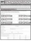 Request For Waiver From Electronic Filing Of Real Property Income And Expense (rpie) Form 2009