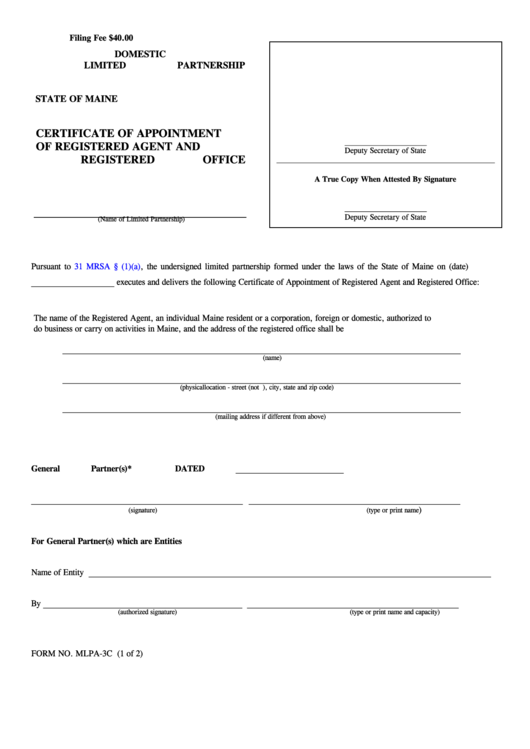 Fillable Form Mlpa-3c - Certificate Of Appointment Of Registered Agent And Registered Office 2004 Printable pdf