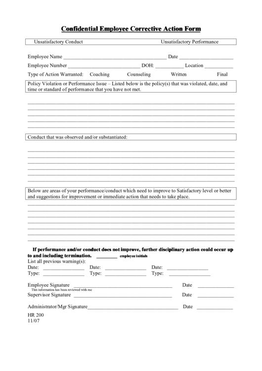 Confidential Employee Corrective Action Form