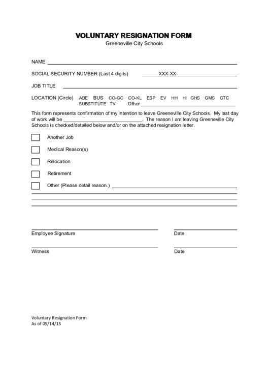 voluntary resignation form printable pdf download