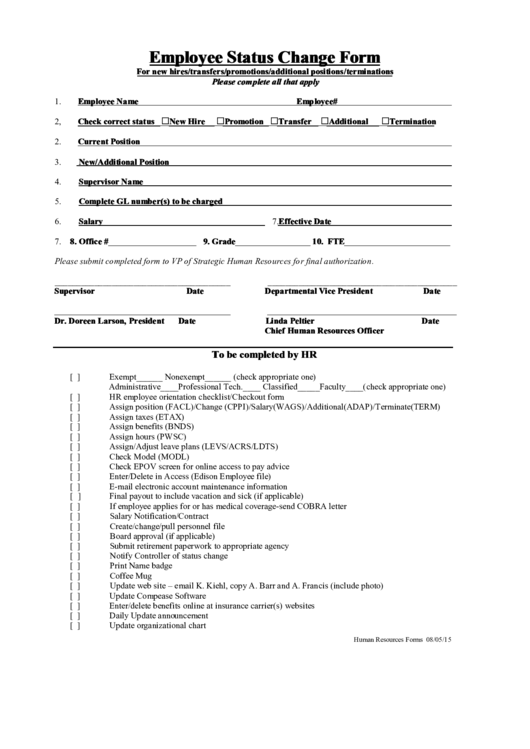 top 17 employee change of status form templates free to download in