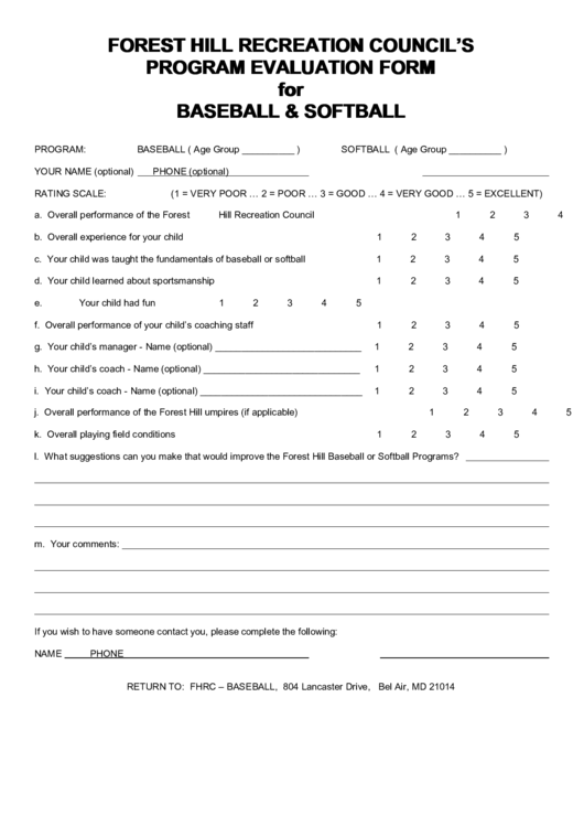Forest Hill Recreation Council S Program Evaluation Form