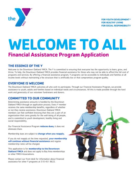 Financial Assistance Program Application Form Printable pdf
