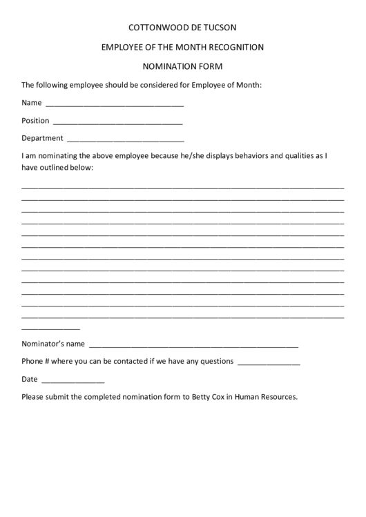 Employee Of The Month Recognition Nomination Form