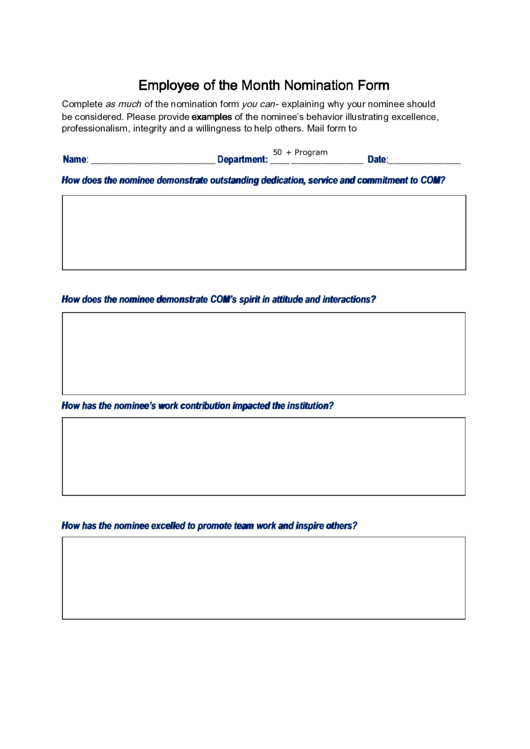 Fillable Employee Of The Month Nomination Form Printable