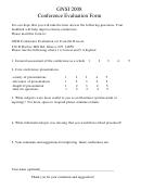Gnsi 2008 Conference Evaluation Form