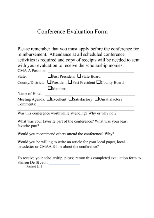 Top Conference Evaluation Form Templates Free To Download In PDF, Word And  Excel Formats