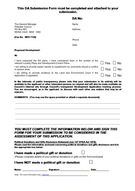 Da Proposed Development Submission Form Printable pdf