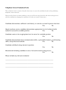 Telephone Screen Evaluation Form
