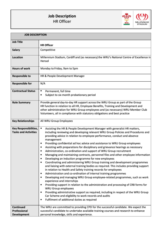 Hr officer job description printable pdf download - Compliance officer bank job description ...
