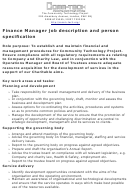 Finance Manager Job Description And Person Specification