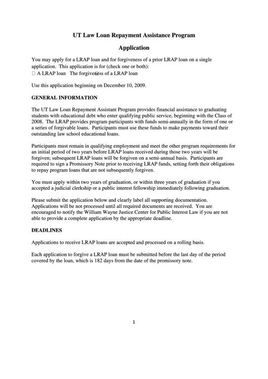 Ut Law Loan Repayment Assistance Program Application Form Printable pdf