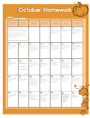 October Homework Calendar Template