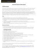 Personal Insurance Sales Agent Job Description Template
