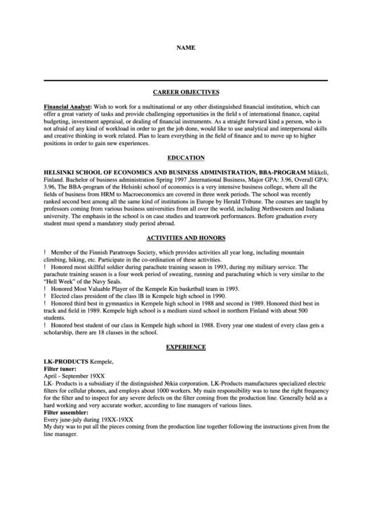 Resume Template Printable pdf