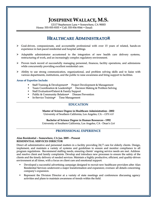 Healthcare Administrator Resume Template Printable pdf