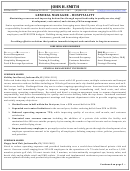 General Manager - Hospitality Resume Template
