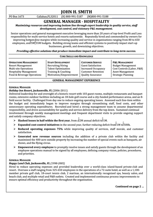 General Manager - Hospitality Resume Template Printable pdf