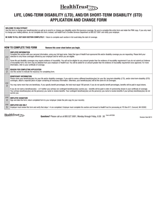 Life Long Term Disability Ltd And Or Short Term Disability Std Application And Change Form