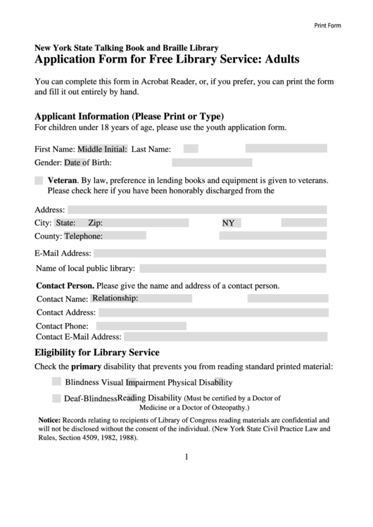 Fillable Application Form For Free Library Service - Adults Printable pdf
