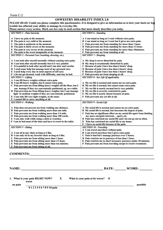 Form C 2 Oswestry Disability Index 2 0 Printable Pdf