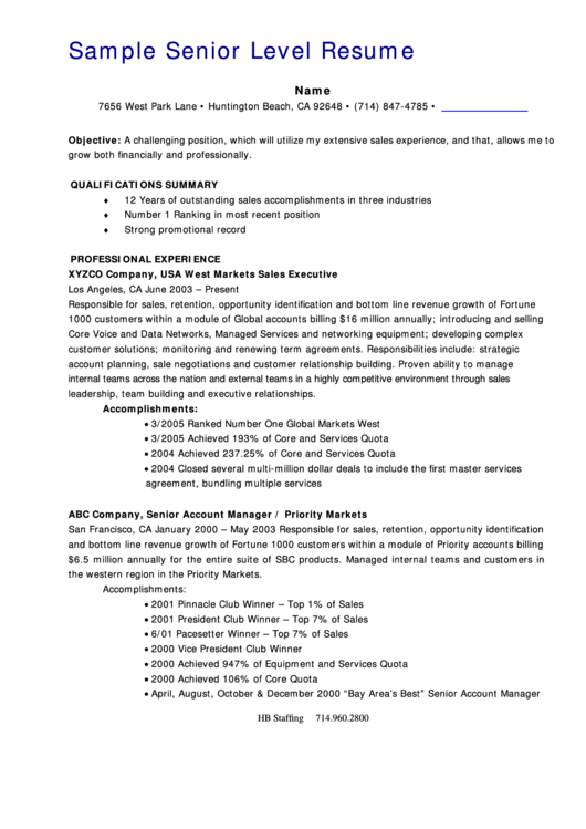 Sample Senior Level Resume Printable pdf