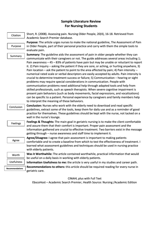 sample literature review for nursing students printable