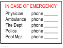 In Case Of Emergency Contact Sheet