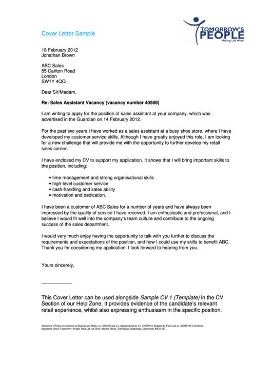 Cover Letter Sample Printable pdf